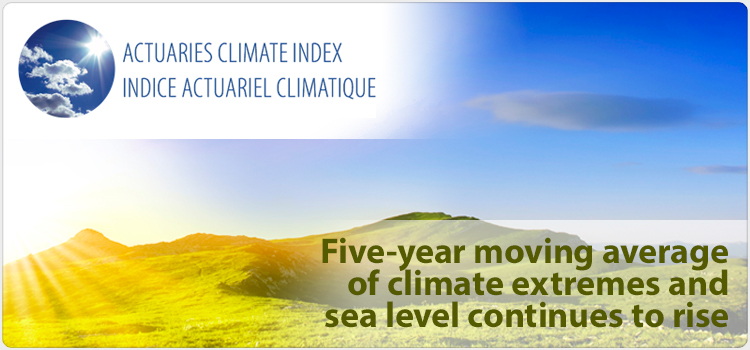 Five-year moving average of climate extremes and sea level continues to rise