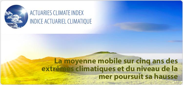 La moyenne mobile sur cinq ans des extremes climatiques et du niveau de la mer poursuit sa hausse